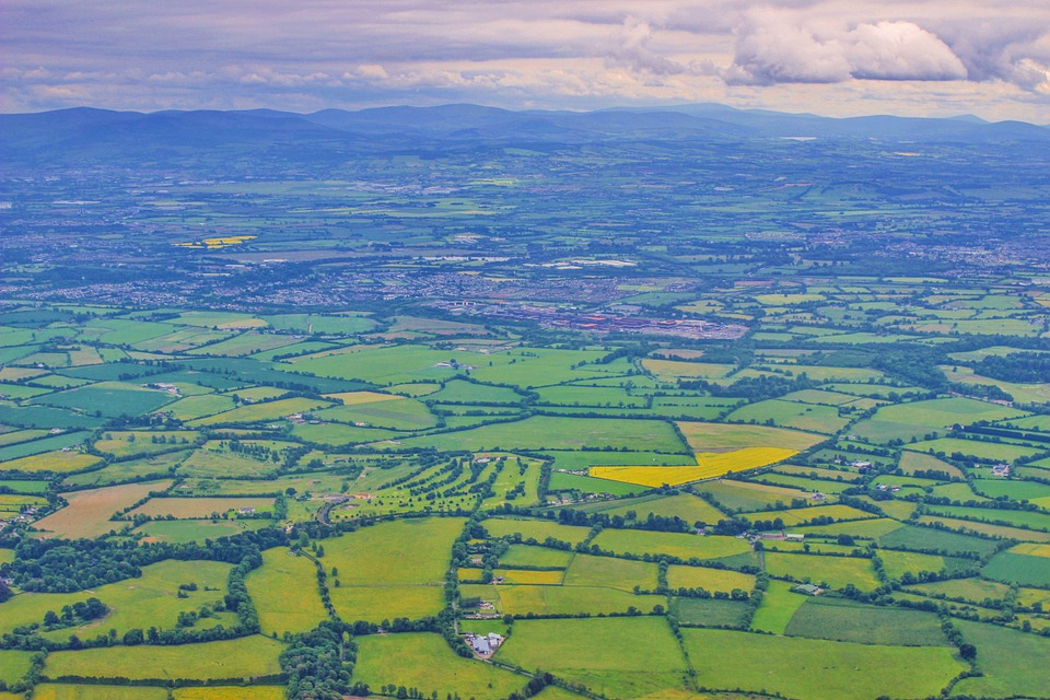 beautiful view of luxurious irish landscape on aeriel tour